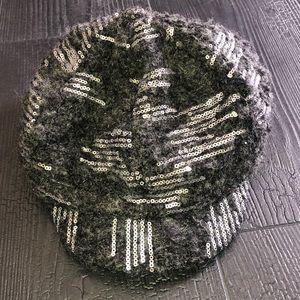 Mudd Newsboy Winter Hat Sequins Wool Blend